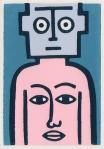 me robot linocut print