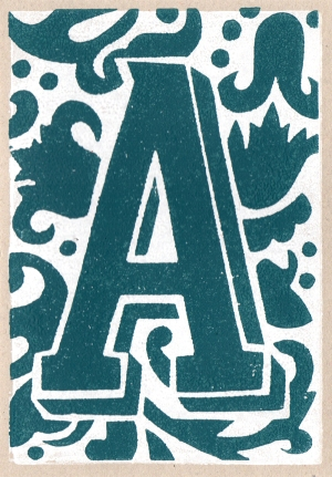 capital letter a linocut greeting card