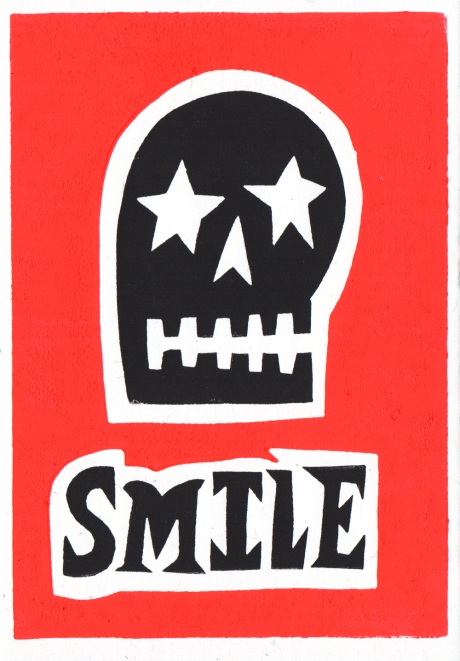smile linocut greeting card